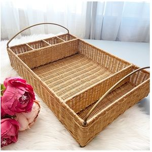 PB Wicker Rattan Tray With Golden Handles